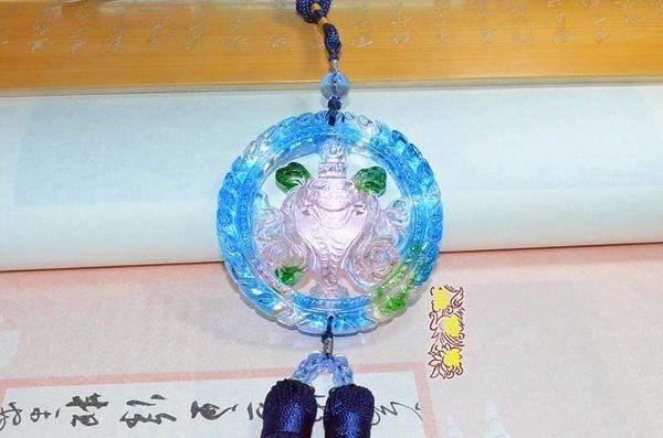 古法琉璃汽車掛件佛家八寶白海螺平安吉祥