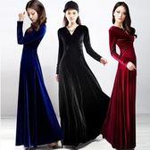 大碼金絲絨連身裙長袖高腰大擺長裙禮服