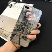 [24hr-現貨快出] 新款 韓版 玫瑰花 女款 文藝 蘋果 手機殼 iPhone7 iPhone6 plus i6s i7 磨砂 全包 硬殼