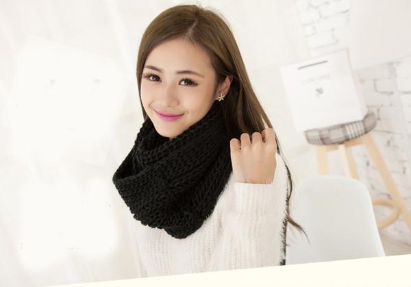 Qmishop 韓國素色學院風圍巾 超寬加厚保暖圍脖【QG1832】