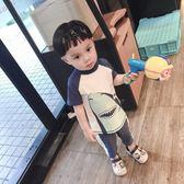 韓國韓范兒童泳衣男童防曬抗UV短袖寶寶大鯊魚分體游泳衣沖浪服潮