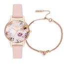 OLIVIA BURTON 玫瑰金陽光花之饗宴腕錶手鍊套組