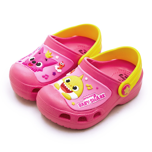 LIKA夢 Pinkfong 碰碰狐 15cm-19cm BABY SHARK 輕量兒童園丁涼、拖鞋 台灣製造 桃紅黃 96522 中童