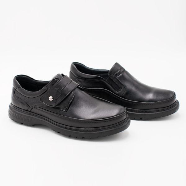 W&M  經典LOGO直套式增高厚底男皮鞋-黑