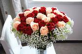 假花仿真花束家居裝飾花單支玫瑰花絹花婚慶客廳擺設塑料干花【PINKQ】