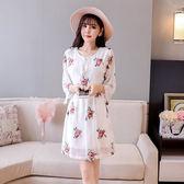 ★韓美姬★中大尺碼~玫瑰花刺繡短袖洋裝(F~3XL)