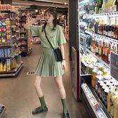A字裙夏裝高腰百褶半身裙格子A字裙女短裙 牛油果綠刺繡短袖t恤套裝 歐歐