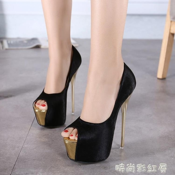 大碼高跟鞋40-45魚嘴鞋15CM超高跟女單鞋16cm恨天高涼鞋新款宴會 pinkQ 時尚女裝