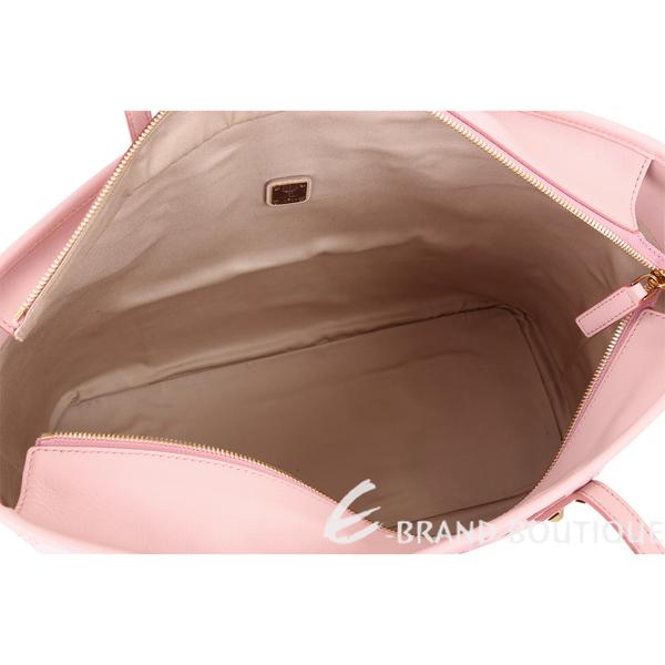 MCM Rabbit 施華洛世奇水鑽飾兔子印花購物包-中(附萬用包/粉色) 1810477-05