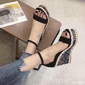 厚底楔形涼鞋女2021韓版夏天新款松糕鞋百搭高跟厚底防水台羅馬鞋子潮 蘇菲小店