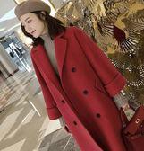 大尺碼XL-5XL韓版中長款外套棉衣大衣加肥加大码女装毛呢外套200斤胖mm加厚宽松呢子大衣4F121A-9703