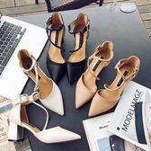 鞋子女單鞋粗跟尖頭女鞋綁帶高跟鞋女淺口百搭女涼鞋 俏腳丫