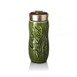 【收藏天地】乾唐軒活瓷系列*水仙隨身杯 綠釉款∕按摩 舒緩 碧璽 電氣石 養生 健康 負離子