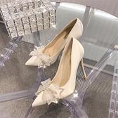 大碼高跟鞋女蝴蝶細跟水晶婚紗婚鞋紅色法式黑色單鞋夏【慢客生活】
