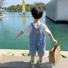 男童褲子2021新款兒童短褲夏季薄款小童夏裝牛仔褲潮寶寶吊帶褲夏 一米陽光