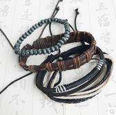 牛皮編織男款手工文藝手繩組合多層手環Dhh1210【潘小丫女鞋】