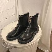 鞋子女英倫風短靴皮面粗跟套腳短筒切爾西靴學院風學生馬丁靴女潮