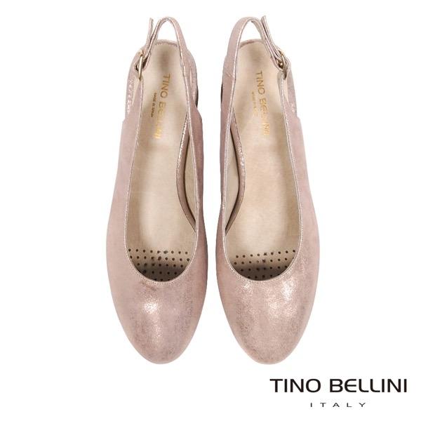 Tino Bellini 西班牙進口低調微光元素簡約中跟鞋 _ 粉金 A83024 歐洲進口款