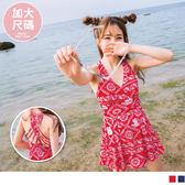 OrangeBear《VC0051》中大碼~滿版小象印花美背連身泳裝--適 M~XL