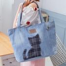 Kiro貓 牛仔布 大容量 手提袋/肩背包/托特包【25003801】