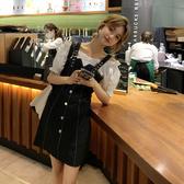 洋裝 格子拼接假兩件露肩連身裙女2020夏新款法式裙子B1384 NB36 依品國際