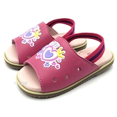 《7+1童鞋》 LOVE字母  皇冠  星星簍空  後綁帶學步拖鞋  E063   桃色