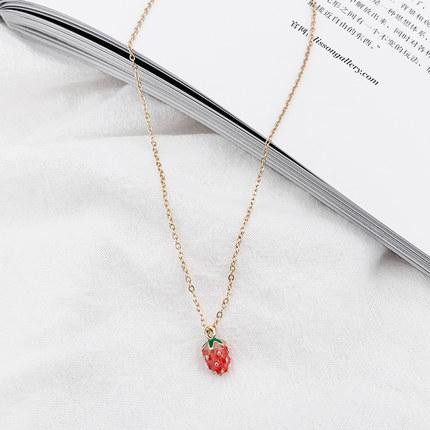 項練 小草莓項練女吊墜百搭簡約學生森系網紅鎖骨練仙脖子飾品 交換禮物