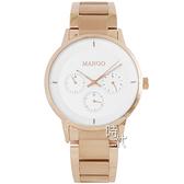 【台南 時代鐘錶 MANGO】西班牙設計美學 三眼日期 鋼錶帶女錶 MA6751M-RG 白/玫瑰金 42mm