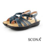 SCONA 蘇格南 全真皮 手工舒適厚底涼鞋 藍色 31053-2