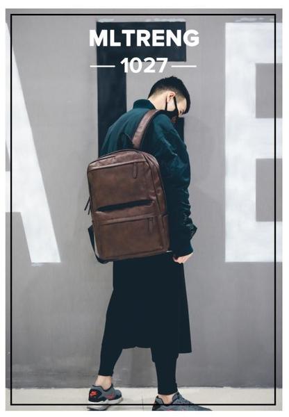 後揹包-休閒男士後揹包男士揹包韓版學生書包皮時尚潮流運動旅行電腦包潮 依夏嚴選