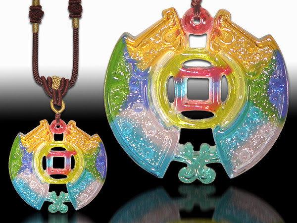 鹿港窯~居家開運水晶琉璃項鍊~雙龍戲珠◆附精美包裝◆免運費送到家
