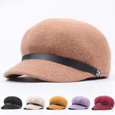 女帽子 毛呢帽 潮韓版英倫羊毛混紡八角帽時尚畫家帽紫色文藝貝雷帽【多多鞋包店】pj468
