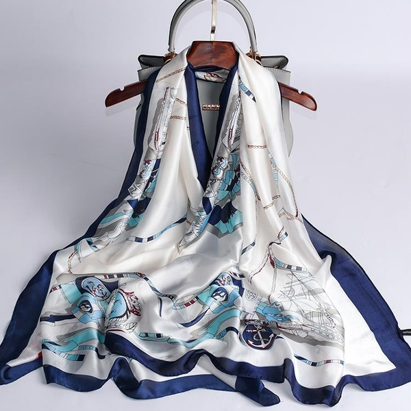 絲綢絲巾女長款防曬披肩薄款紗巾百搭圍巾【倪醬小舖】