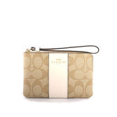 【COACH】皮革+PVC LOGO L型拉鍊手拿包(白色) F58035 IMDQC