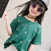 【好康618】女童短袖T恤2018夏季新款中大童花朵繡花