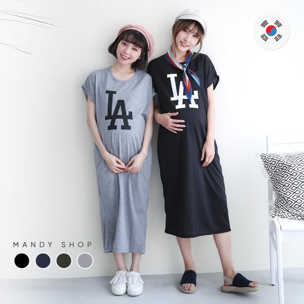 *蔓蒂小舖孕婦裝【M8085】*韓國製.簡約LA個性英文字長洋