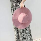 漁夫帽純色大檐布帽 遮陽防曬可折疊盆帽太陽帽m105