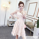 長袖洋裝女洋氣2020春秋季新款時尚氣質修身顯瘦蕾絲小禮服裙子   女神購物節