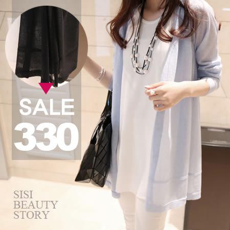 SISI【L6051】夏日午後薄款純色防曬空調衫韓版寬鬆開襟衫針織罩衫上衣