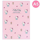 Sanrio HELLO KITTY日本製A5膠裝方格筆記本(點點草莓)★funbox★_149152