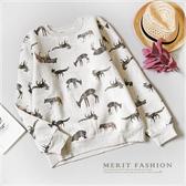 中大童 純棉 清新動物長袖上衣 保暖 刷毛 長袖 上衣 動物 衛衣 鹿 可愛 滿版 女大童 哎北比童裝