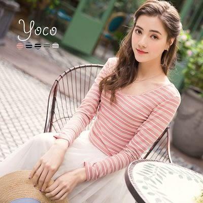 東京著衣【YOCO】簡約基本感多色條紋上衣-S.M(170120)
