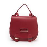 Petite Jolie  時尚名媛果凍馬鞍雙肩背包-胭脂紅色