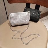 晚宴包2021新款水鑽斜背小包包時尚帶鑽小手包手機包側背錬條女包晚宴包 雲朵