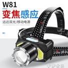 (快出)頭燈 強光充電感應變焦夜釣魚頭戴...