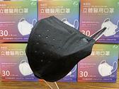 順易利立體醫用口罩30片/盒 鬆緊帶 成人3D口罩 黑色