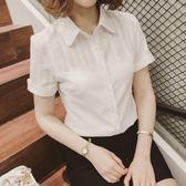 推薦新款短袖襯衫女夏雪紡衫白色襯衣職業裝大碼韓范上衣女工作服【跨店滿減】