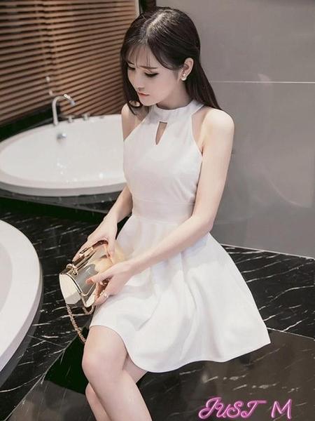 夜店洋裝夜店女裝2021夏季新款性感小禮服露肩露背掛脖修身顯瘦收腰連身裙 JUST M