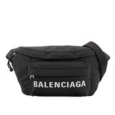 【BALENCIAGA】黑色帆布 白色字體 logo 腰包/胸口包 (黑色)XS 533009 HPG1X 1070