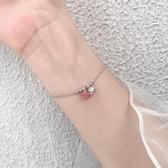 新品 925銀蓮蓬草莓晶手鍊簡約ins設計小眾清新森系學生手環韓版閨蜜女